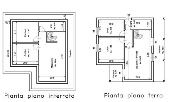 Sassari Monte Bianchinu progetto con concessione edilizia per villa su due livelli